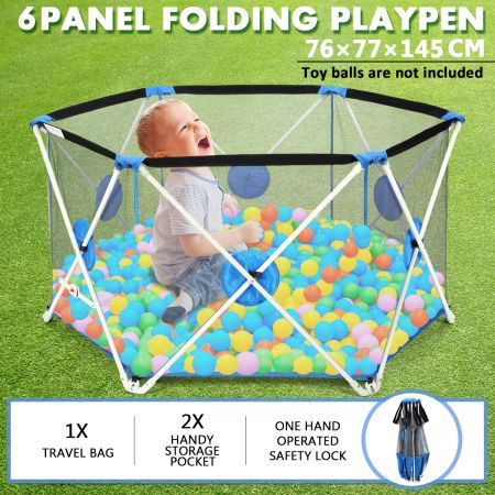 Pop-up Puppy Playpen Foldable 6-Panel Play Pen Metal Frame for Indoor & Outdoor - Blue