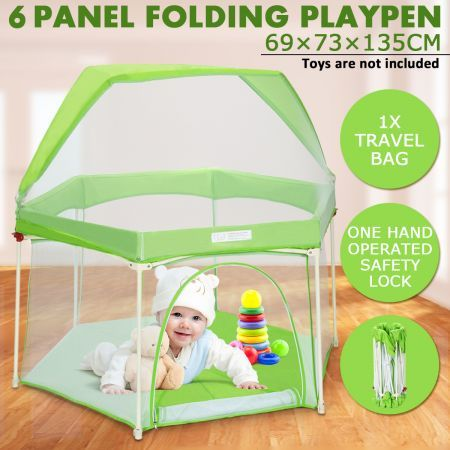 Pop-up Baby Puppy Playpen Foldable 6-Panel Play Pen Metal Frame with Awning - Green