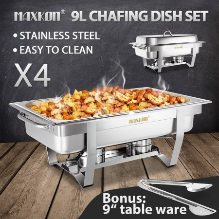 4 Sets Bain Marie Bow Chafing Dishes 9L S/S Buffet Food Warmer Stackable