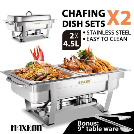 2 Sets Bain Marie Bow Chafing Dishes 4x4.5L S/S Buffet Food Warmer Stackable