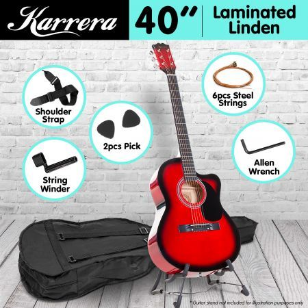 Karrera Acoustic Cutaway 40in Guitar - Red