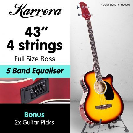 Karrera 43in Acoustic Bass Guitar - Sunburst