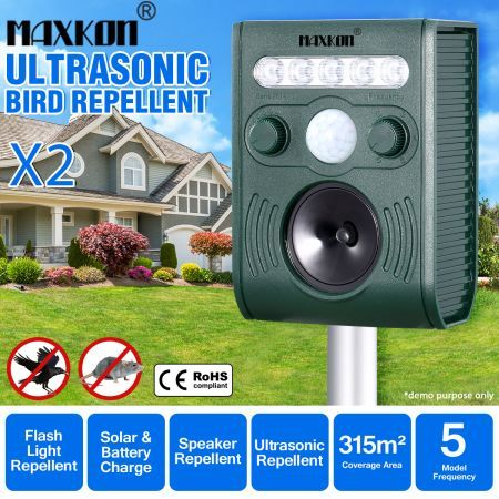 2x Ultrasonic Bird Animal Repeller Solar Powered Repellent