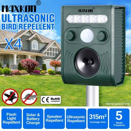 4x Ultrasonic Bird Animal Repeller Solar Powered Repellent