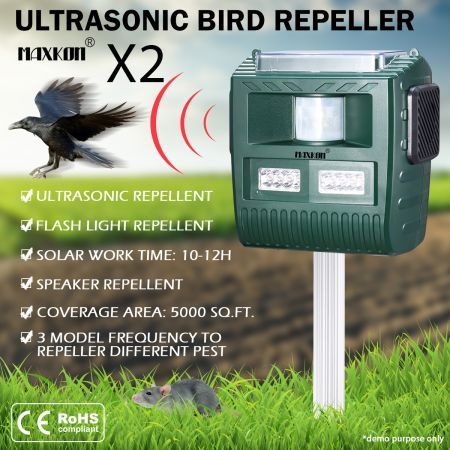 2x Ultrasonic Bird Animal Repeller Pest Repellent with Loudspeaker Alarm & Large Solar Power Plate