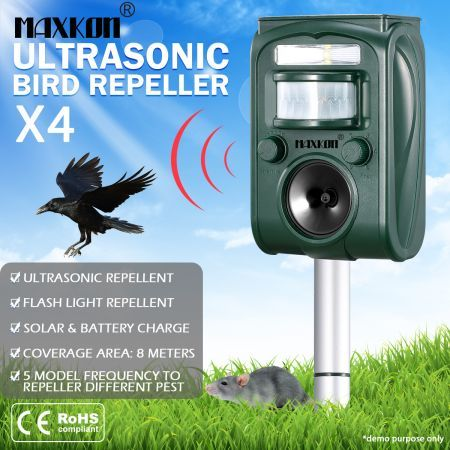 4x Ultrasonic Bird Animal Repellent Solar Powered Pest Repeller W/ LED Indicator