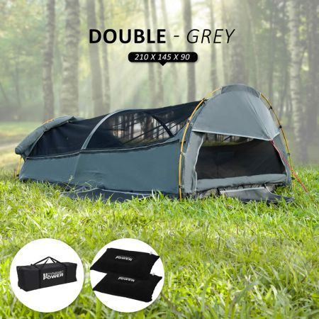 Deluxe Outdoor Camping Canvas Swag Aluminium Poles Tent Double - Grey