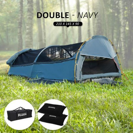 Deluxe Outdoor Camping Canvas Swag Aluminium Poles Tent Double - Navy Blue