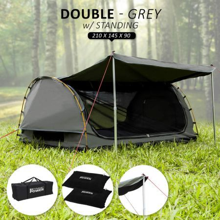 Deluxe Outdoor Camping Canvas Swag Aluminium Poles Tent Double with Free Standing - Grey