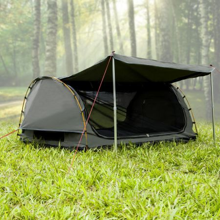 Deluxe Outdoor C&ing Canvas Swag Aluminium Poles Tent Double with Free Standing - Grey & Deluxe Outdoor Camping Canvas Swag Aluminium Poles Tent Double ...