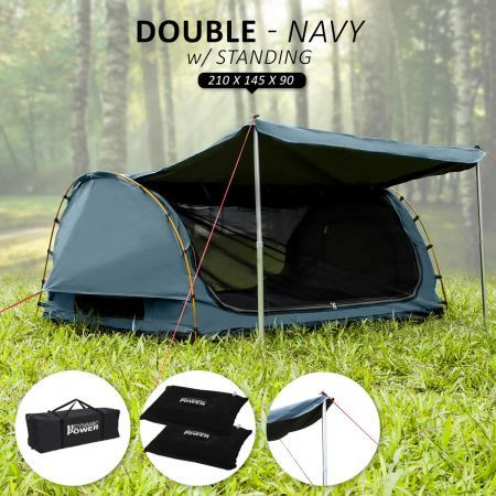 Deluxe Outdoor Camping Canvas Swag Aluminium Poles Tent Double with Free Standing - Navy Blue