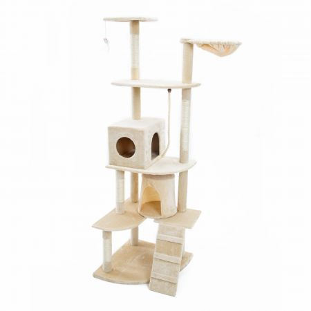 Cat Tree Scratching Post Scratcher Pole Gym Toy House ACACIA 193cm - Beige