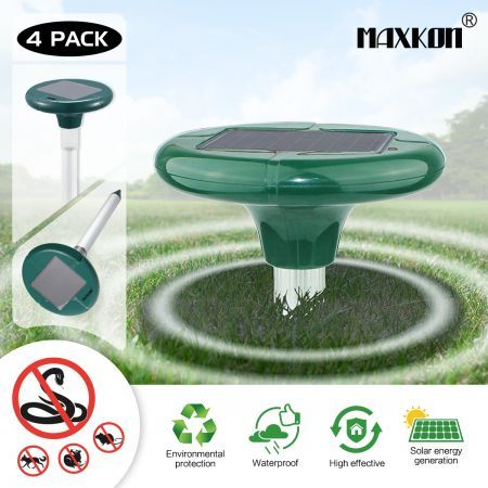 4 x Snake Repeller Ultrasonic Solar Powered Pest Repellent w/625sqm Coverage