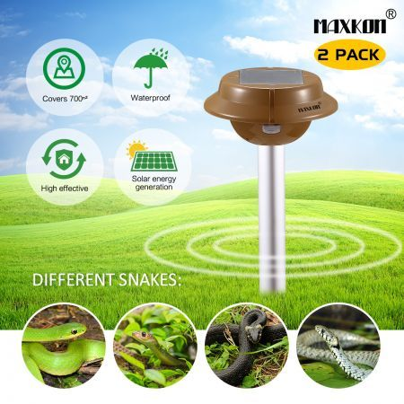 2 x Snake Repeller Sonic Pulse Solar Powered Repellent w/700sqm Coverage