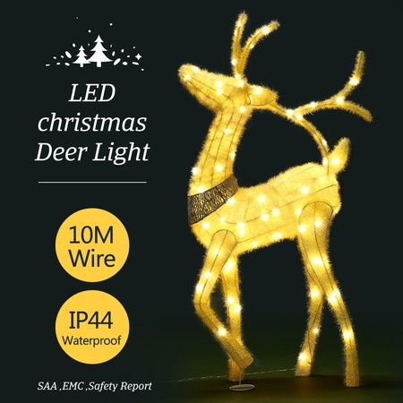 3D Christmas Reindeer Light 10M LED Rope Fairy Xmas Decor Figure - Warm White