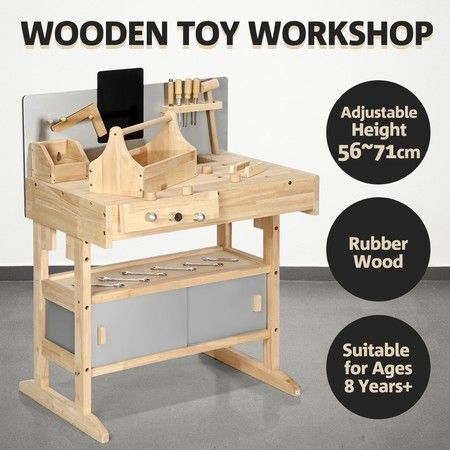 Kids Workbench Wooden Tool Bench Workbench Toy Workshop Tool Set with Tool Box 32PCS