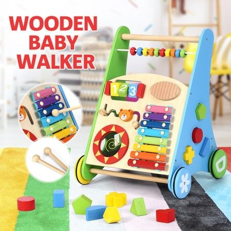 Wooden Baby Walker Toddler Walker Baby Push Activity Walker Wooden Toys