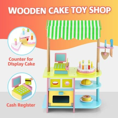Kids Wooden Bakery Stand Children Pretend Play Cake Toy Shop with Awning