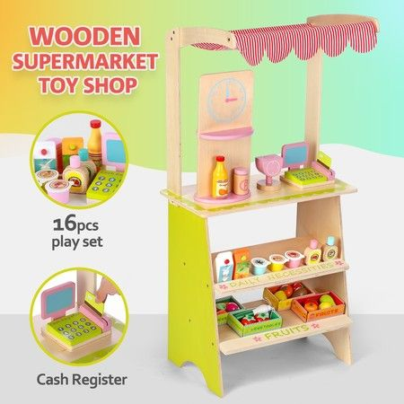 Kids Wooden Marketplace Stand Market Stall Pretend Play Toy with Awning