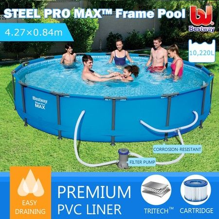 Bestway 4.27M Above Ground Metal Frame Swimming Pool w/Filter Pump