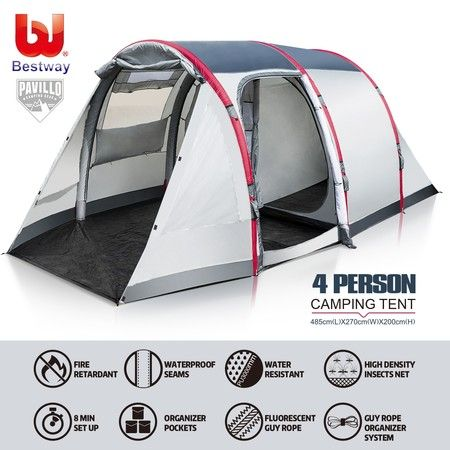 Bestway Camping Tent  4 Person Air Camping Hiking 2-Tier Outdoor Waterproof Tent w/Pump & Carry Bag