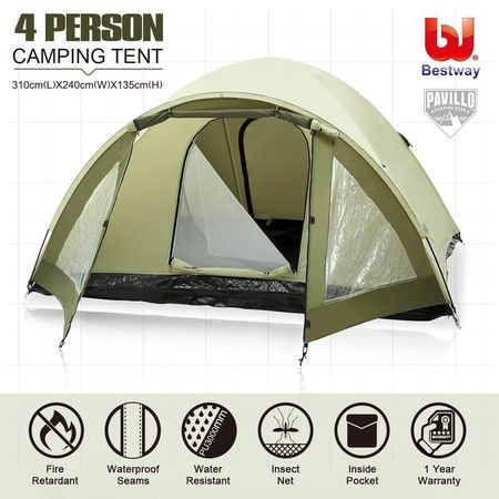 Bestway Camping Tent 2-Tier Camping Hiking Outdoor 4 Person Waterproof Tent w/Carry Bag