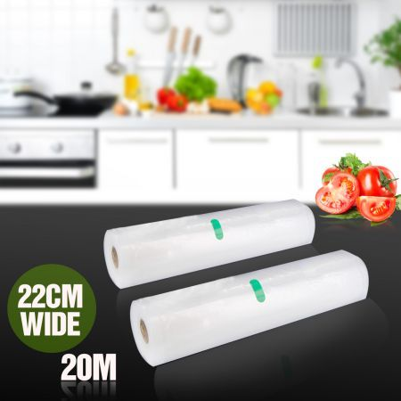 2 Rolls of 22cm x 1000cm Replacement Vacuum Sealer Food Saver Bags - CF22V10