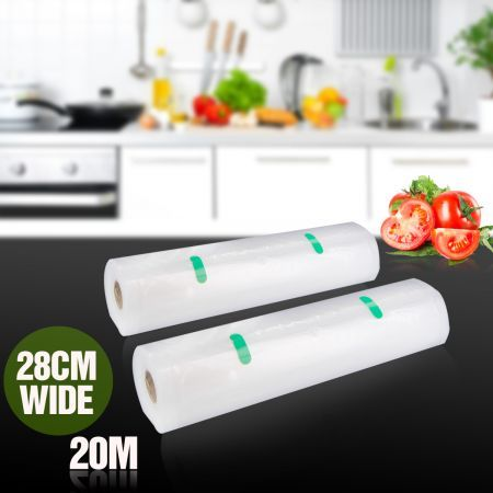 2 Rolls of 28cm x 1000cm Replacement Vacuum Sealer Food Saver Bags