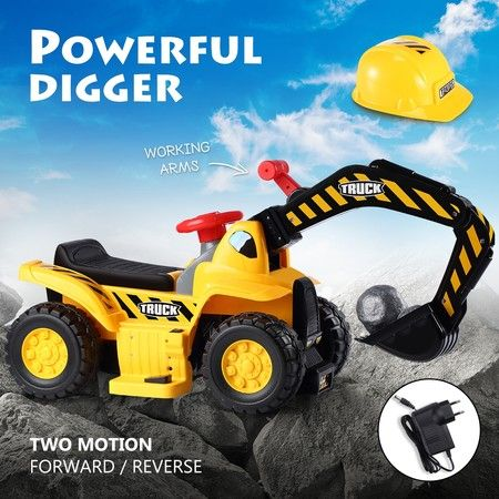 Kids Ride on Digger Electric Excavator Bulldozer Loader Car w/Safety Helmet