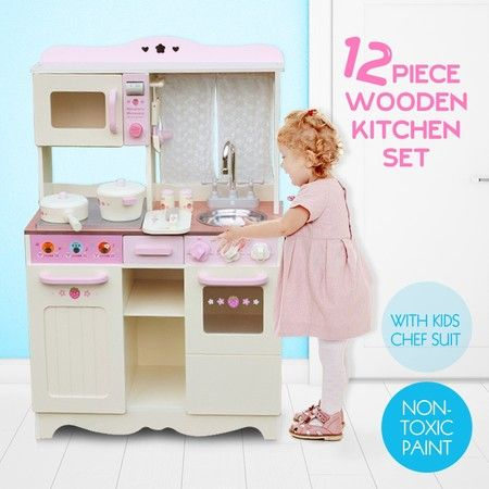 Kids Pretend Play Toy Wooden Childrens Kitchen Set Pink White W