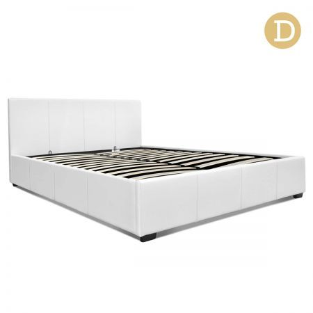 PU Leather Gas Lift Double Bed Frame - White