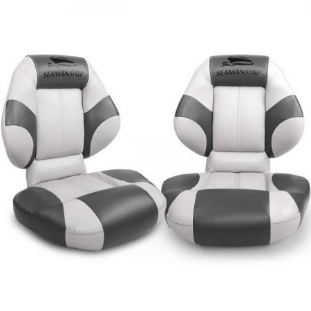 Set of 2 Folding Rotatable Boat Seats - White and Grey