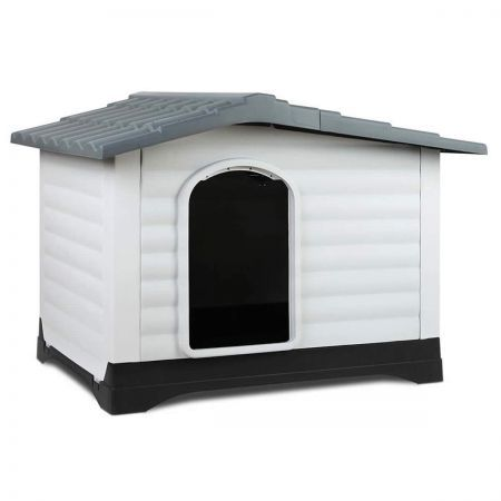Dog Kennel Indoor and Outdoor with Corrugated Roof Ventilation Holes - Grey