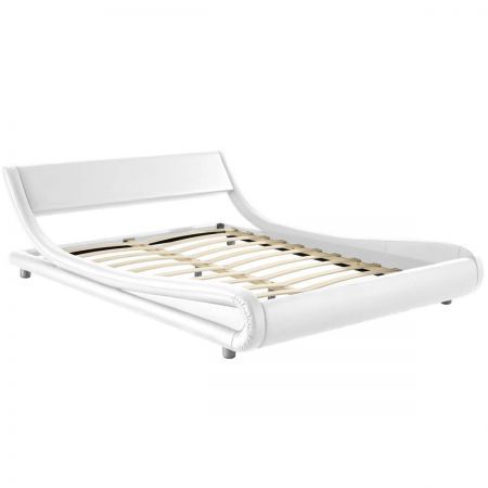 PU Leather King Bed Frame with Wooden Arched Slat Base - White