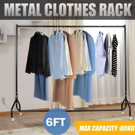 6FT Portable Metal Rail Clothes Rack Hanger Dryer Stand