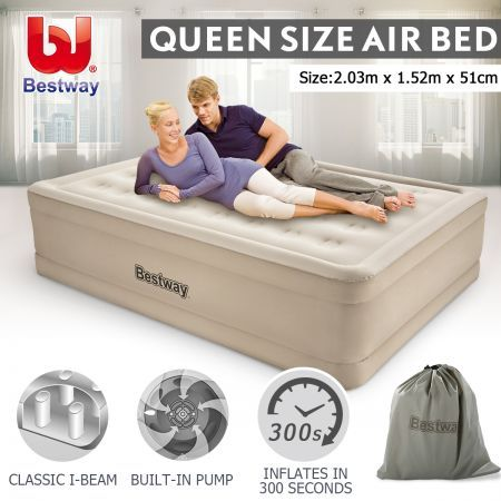 Bestway Queen Air Bed 51cm Inflatable Blow Up Mattress w/Built-in Pump & Travel Bag