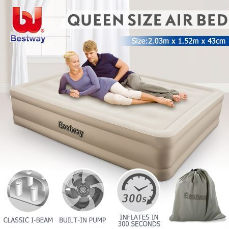 bestway air bed inflatable blow up mattress queen size w built in pump travel bag crazy sales. Black Bedroom Furniture Sets. Home Design Ideas