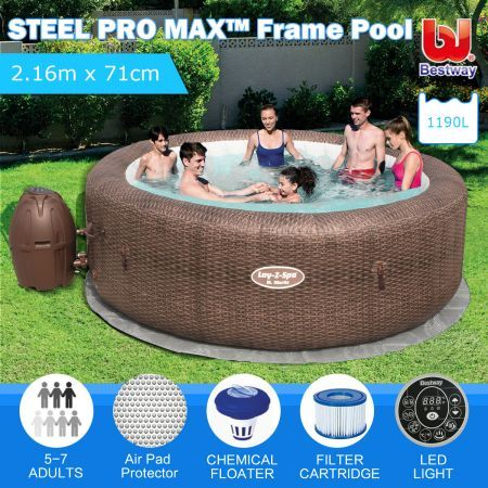 Bestway Lay Z Spa 5-7 People - Massage Bath Hot Tub w/Top Cover
