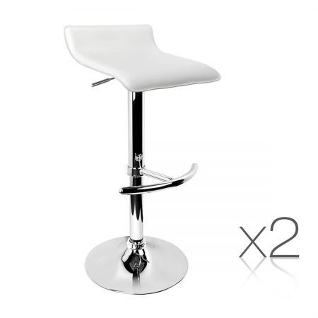 Set of 2 PVC Leather Kitchen Bar Stool - White