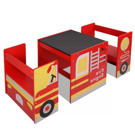 Kids Table & Chair Set - Fire Truck Design