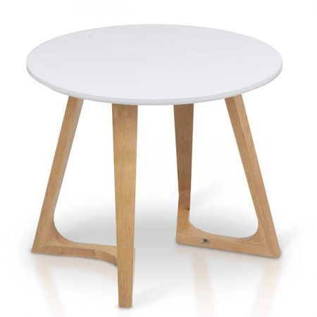 Round Side Table with Solid Oak Legs