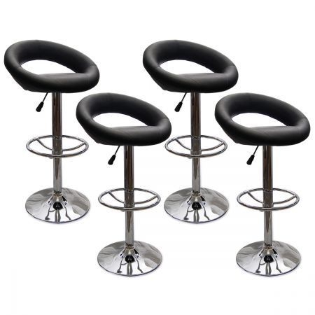 4 X Pu Leather Scoop Style Bar Stool Kitchen Furniture