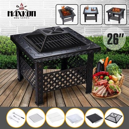 Maxkon Fire Pit Fireplace Brazier Patio Camping Heater w/Grill Shelf