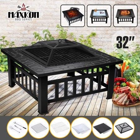 Maxkon Fire Pit 3-in-1 Fireplace Brazier Patio Camping Heater w/Grill Shelf