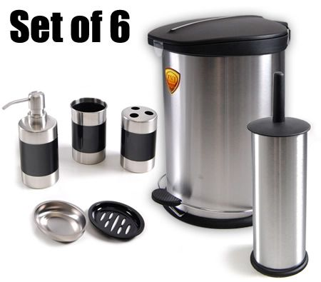 6 Piece Modern Stainless Steel Bathroom Set - Rubbish Bin / Soap Holder / Toothbrush Holder / Water Cup / Toilet Cleaner Brush / Soap Dispenser