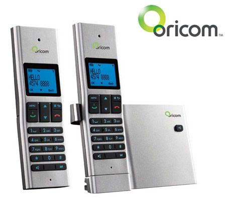 Oricom SLIM8000-2 Twin Pack Slim Series DECT Digital Cordless Phone - Silver