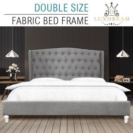 LUXDREAM Wooden Double Upholsterted Platform Bed Frame with Wooden Slats