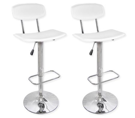 2 x PVC Leather Bar Stool with Back Rest Kitchen Furniture Chairs - White - FX-073A_WHx2