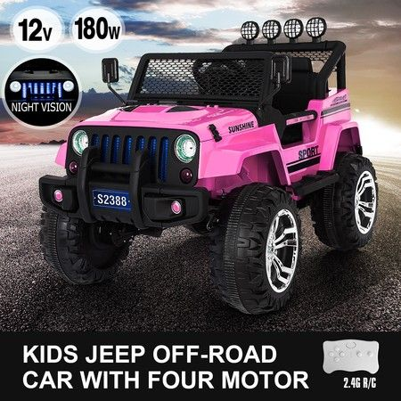 Kids Ride on Car Remote Control Electric Off Road Truck Jeep w/Built-in Songs - Pink