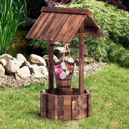 Wooden Wishing Well Outdoor Ornament Home Decor Garden Feature